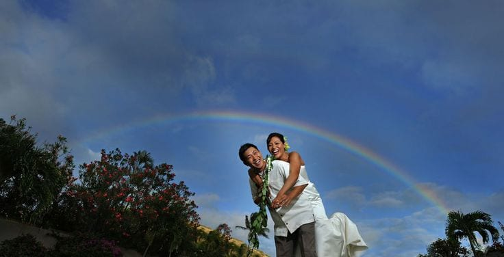 Rainbow background wedding picture
