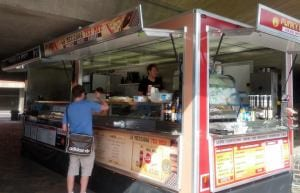 Our 22ft street fusion trailer, we also have small street food units and wooden huts for service inside your venue.