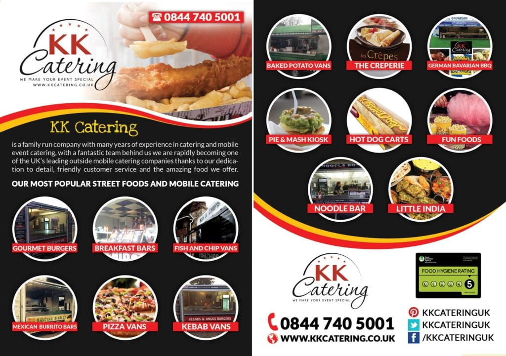 KK Catering Flyer with many street food options