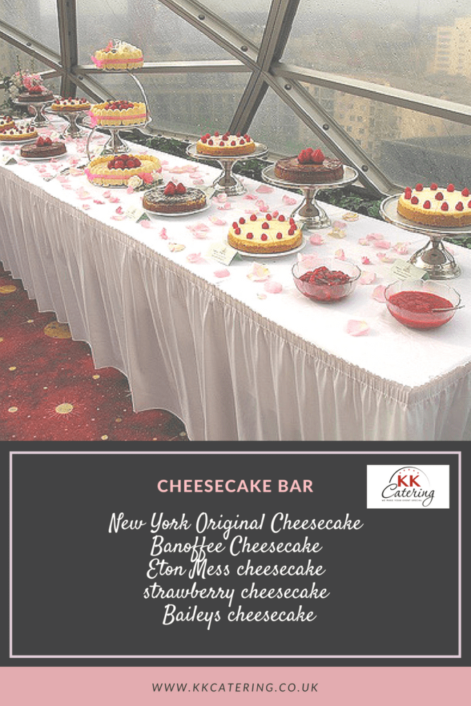 cheese cake bar menu from KK Catering