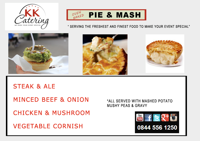 classic pie and mash menu from kk catering