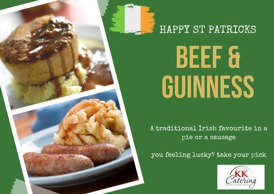 Beef and guiness pie or beef and guiness sausages from KK catering