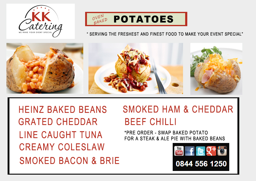oven baked potato menu from kk catering