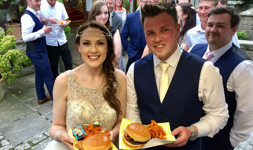 Bride and groom with their street food | KKCatering.co.uk