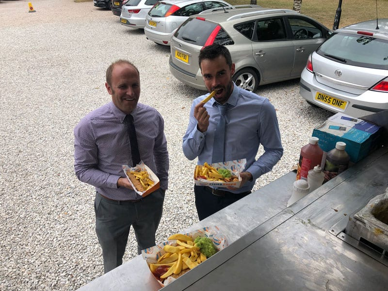 fish and chips for the back to work reopening party