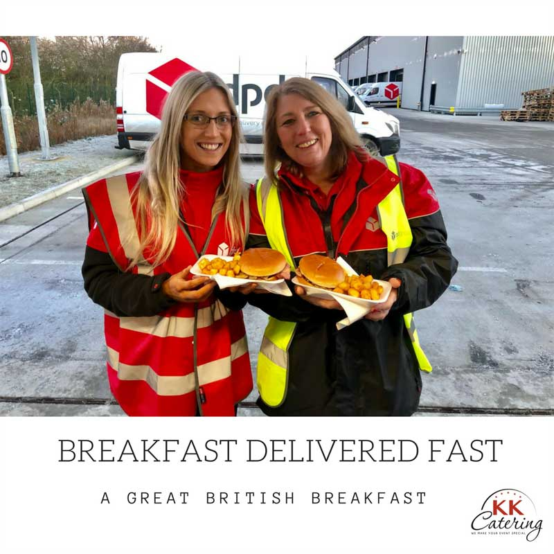 customers outside kkcatering butty van with bacon and sausage baps