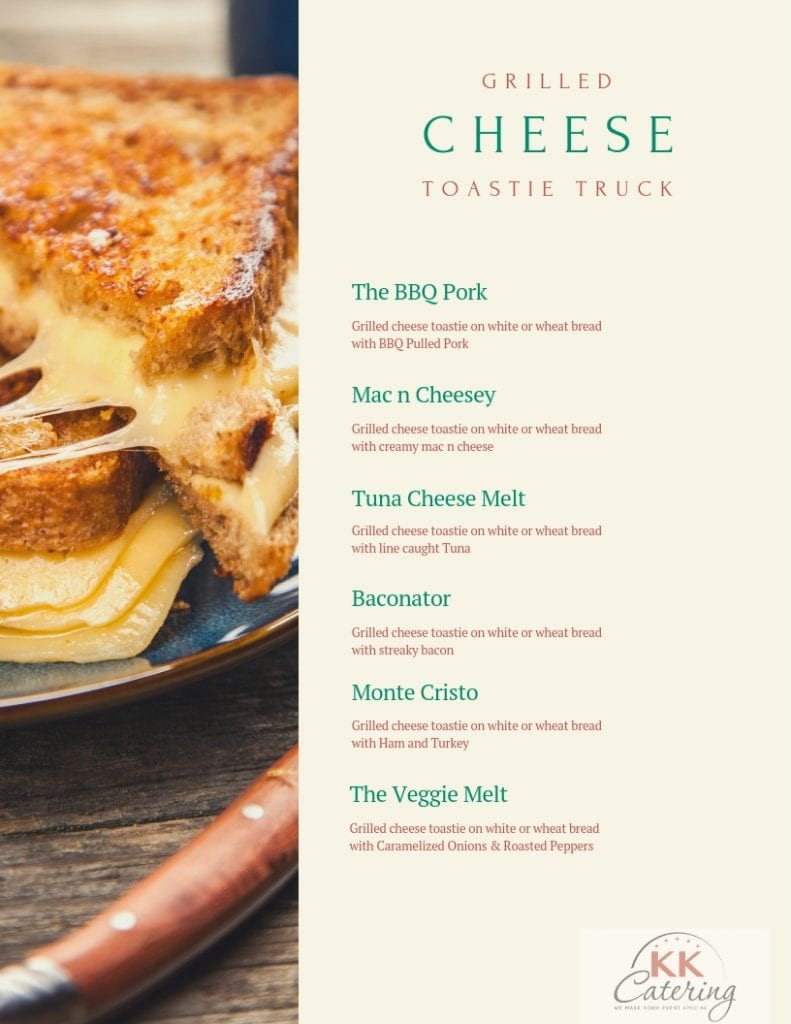 grilled cheese toastie menu