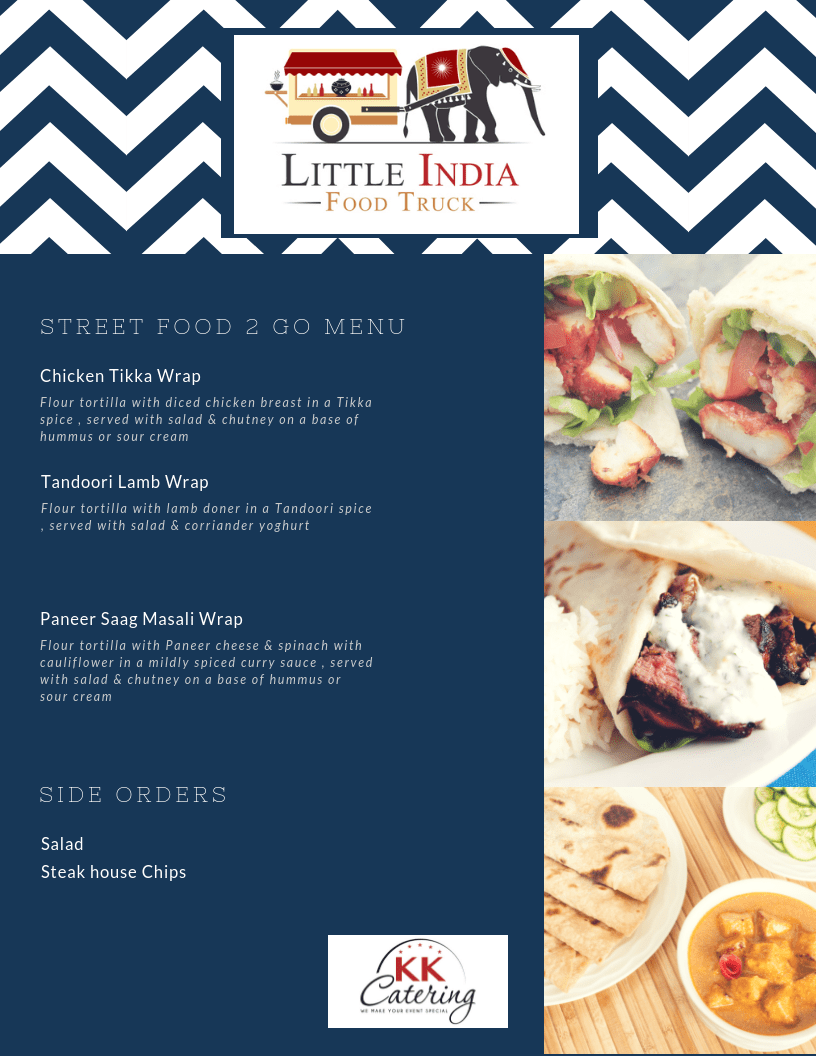 Indian street food wrap menu