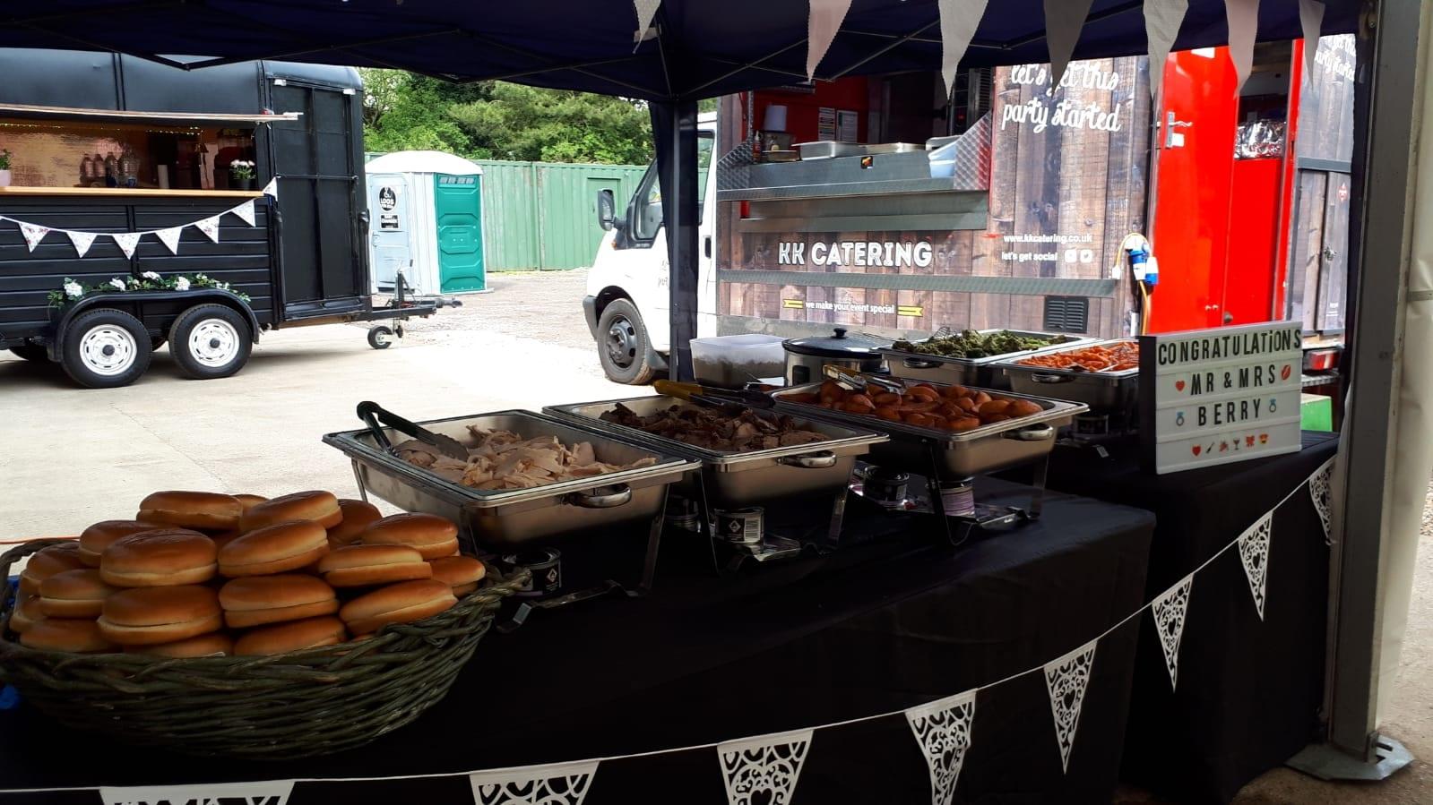 Outdoor wedding self serve buffet stand