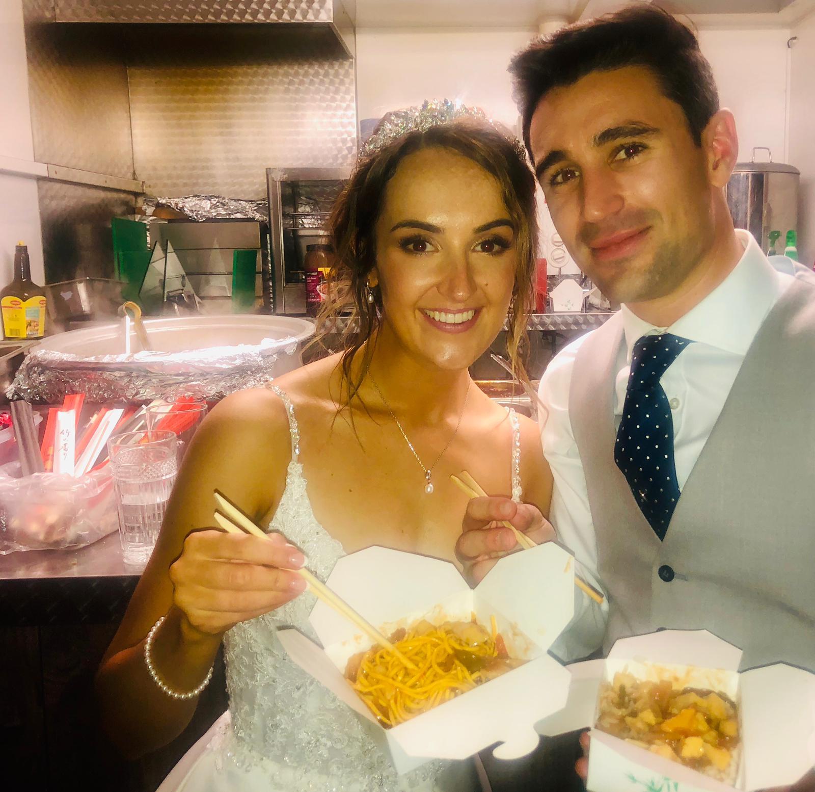 Wedding Couple Enjoy Noodles | noodle van hire