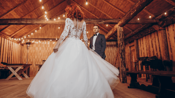 barn dance wedding bride and groom