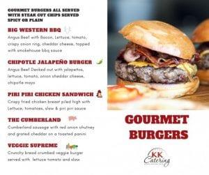 Gourmet Burger Menu from KK Catering