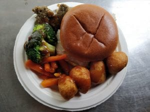 Roast Turkey Sandwich with Gravy broccoli carrots roast potatoes & stuffing