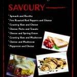 Savoury crepe menu from kk catering