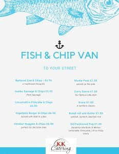 Fish and Chip Van Menu Cash Sales