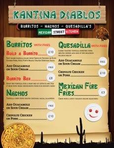 Mexican Burrito Bar Menu Cash Sales