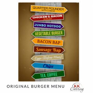 Original Burger Menu from KK Catering