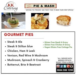 Gourmet Pie and Mash menu