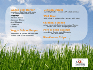 The Woodland BBQ menu from kk catering
