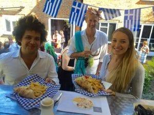 Greek street food customers