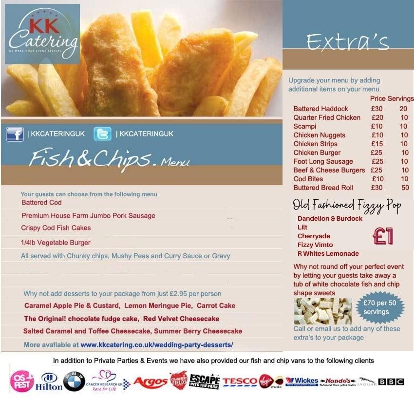 Fish and Chip menu from KK Catering