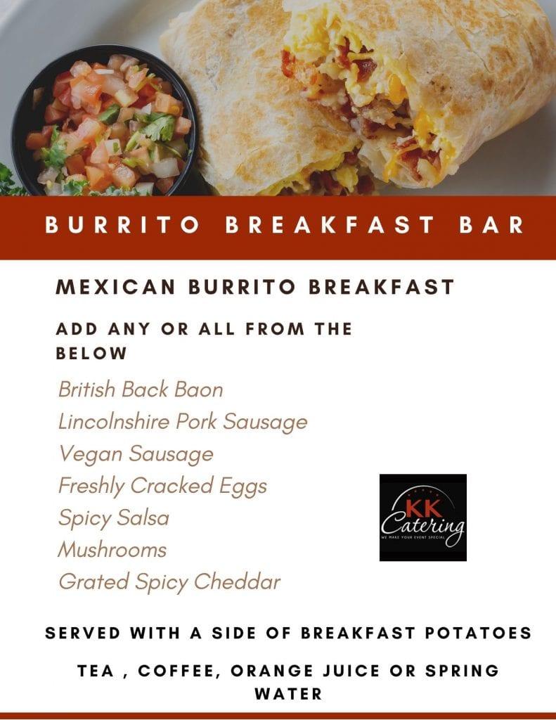 mexican breakfast burrito menu