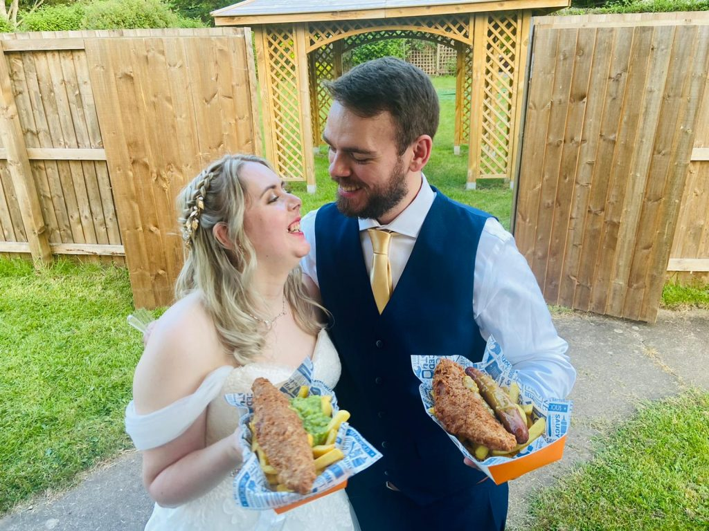 fish and chip wedding bride and groom